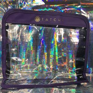 2/$25 Purple/gold detailed Tatcha TSA-ok bag
